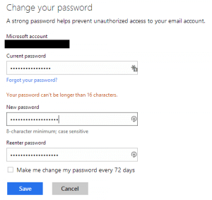 Microsoft password change form