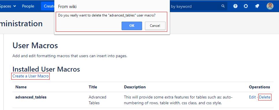 User Macro List Page